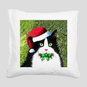 Black and White Tuxedo Cat Square Canvas Pillow
