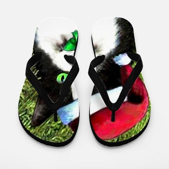 Black and White Tuxedo Cat Flip Flops