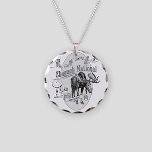 Chugach Vintage Moose Necklace Circle Charm