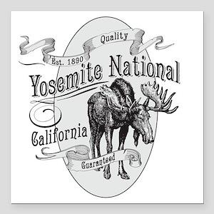 """Yosemite Vintage Moose Square Car Magnet 3"""" x 3"""""""