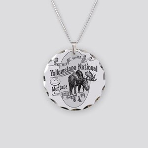 Yellowstone Vintage Moose Necklace Circle Charm