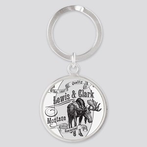 Lewis  Clark Vintage Moose Round Keychain