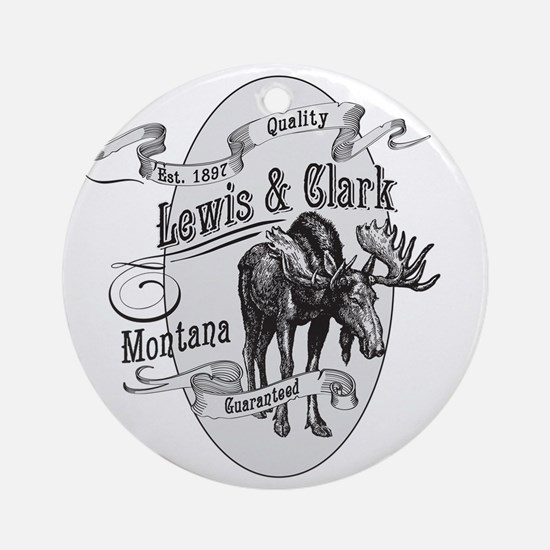Lewis  Clark Vintage Moose Round Ornament
