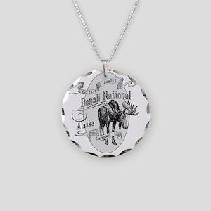 Denali Vintage Moose Necklace Circle Charm