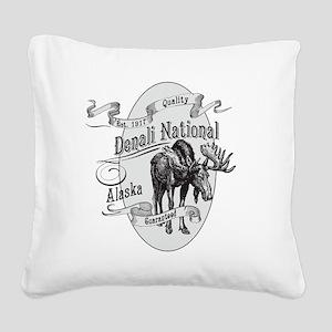 Denali Vintage Moose Square Canvas Pillow