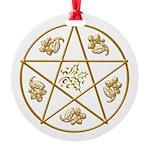 Gold Pentigram-Holly-Oak Ornament