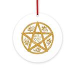 Pentacle Double Woven Wicker-Holly-Oak Ornament (R