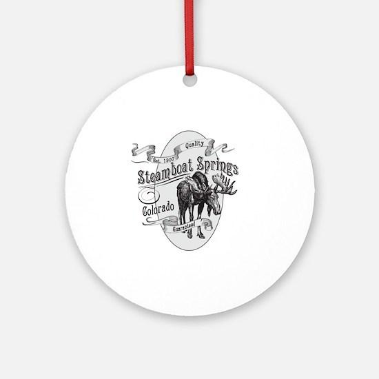 Steamboat Springs Vintage Moose Round Ornament