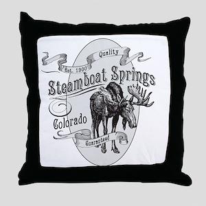 Steamboat Springs Vintage Moose Throw Pillow