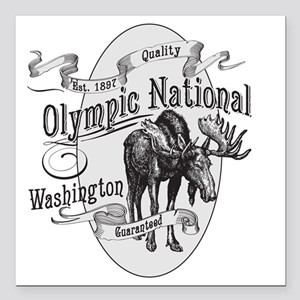"""Olympic National Vintage Square Car Magnet 3"""" x 3"""""""