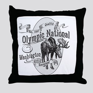 Olympic National Vintage Moose Throw Pillow
