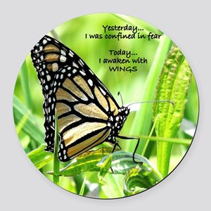 Thinking Butterfly Round Car Magnet