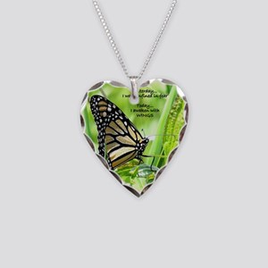 Thinking Butterfly Necklace Heart Charm