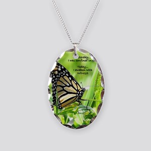 Thinking Butterfly Necklace Oval Charm