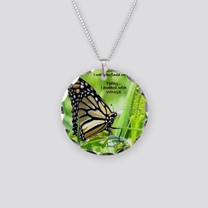 Thinking Butterfly Necklace Circle Charm