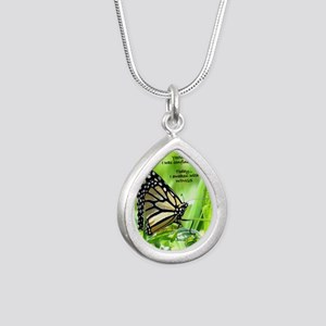 Thinking Butterfly Silver Teardrop Necklace