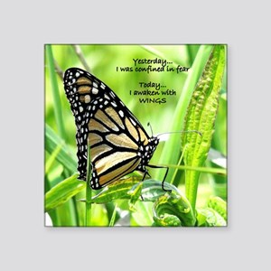 "Thinking Butterfly Square Sticker 3"" x 3"""