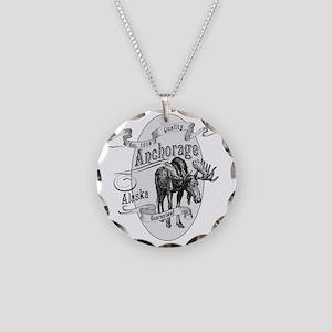 Anchorage Vintage Moose Necklace Circle Charm