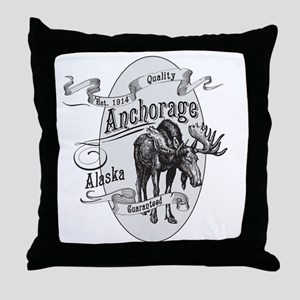 Anchorage Vintage Moose Throw Pillow