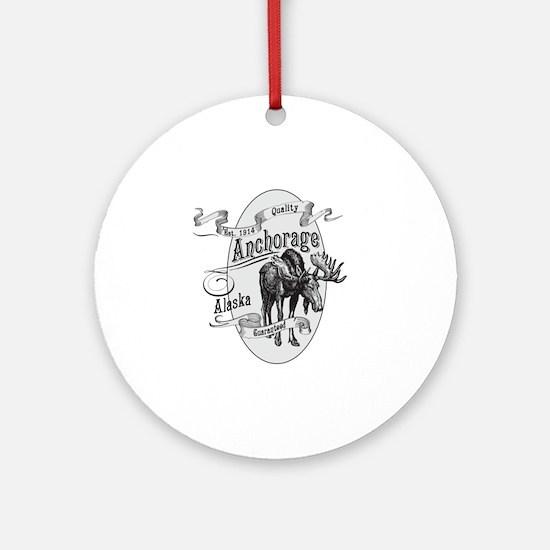 Anchorage Vintage Moose Round Ornament