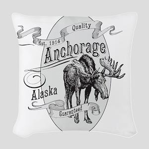 Anchorage Vintage Moose Woven Throw Pillow