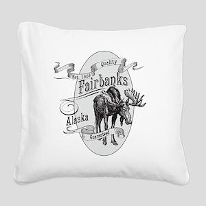 Fairbanks Vintage Moose Square Canvas Pillow