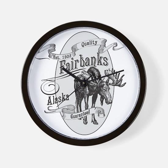 Fairbanks Vintage Moose Wall Clock