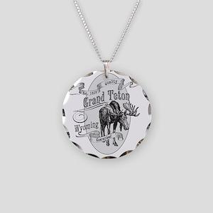 Grand Teton Vintage Moose Necklace Circle Charm
