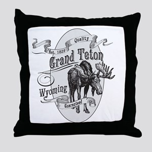 Grand Teton Vintage Moose Throw Pillow