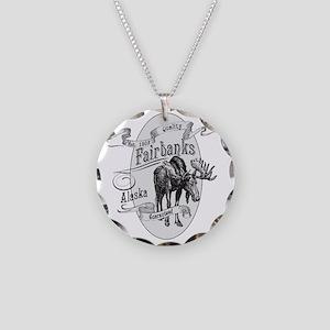 Fairbanks Vintage Moose Necklace Circle Charm