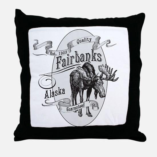 Fairbanks Vintage Moose Throw Pillow