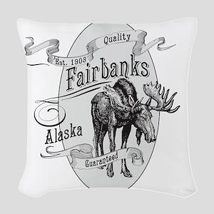 Fairbanks Vintage Moose Woven Throw Pillow