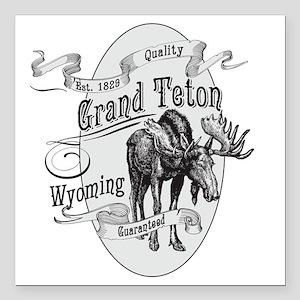 "Grand Teton Vintage Moos Square Car Magnet 3"" x 3"""