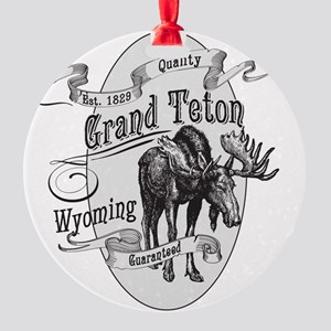 Grand Teton Vintage Moose Round Ornament