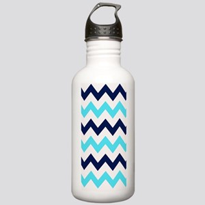 Shades of  Blue Chevro Stainless Water Bottle 1.0L
