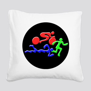 Triathlon Color Figures 3D Square Canvas Pillow