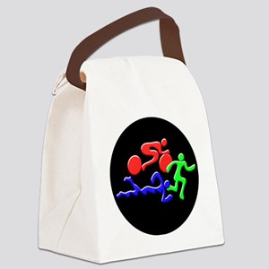 Triathlon Color Figures 3D Canvas Lunch Bag