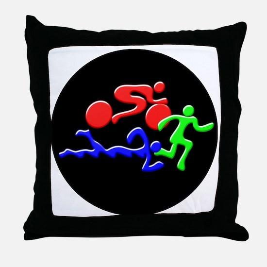Triathlon Color Figures 3D Throw Pillow