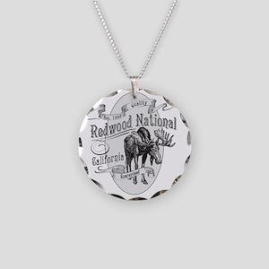 Redwood Vintage Moose Necklace Circle Charm