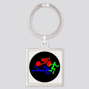 Triathlon Color Figures FLAT Square Keychain