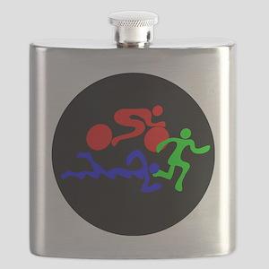 Triathlon Color Figures FLAT Flask