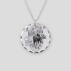 Estes Park Vintage Moose Necklace Circle Charm