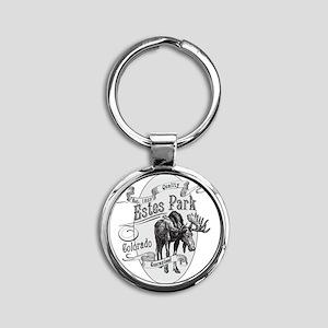 Estes Park Vintage Moose Round Keychain
