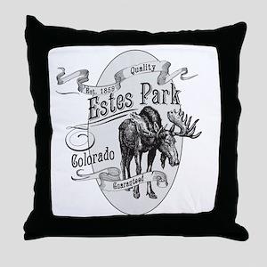 Estes Park Vintage Moose Throw Pillow