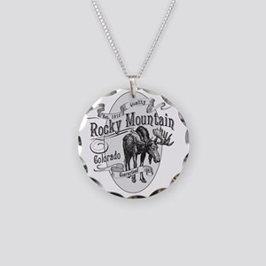 Rocky Mountain Vintage Moose Necklace Circle Charm