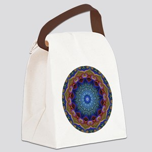 Fractal Kaleidoscope Round Canvas Lunch Bag