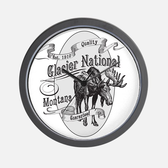 Glacier National Vintage Moose Wall Clock