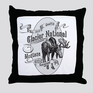 Glacier National Vintage Moose Throw Pillow