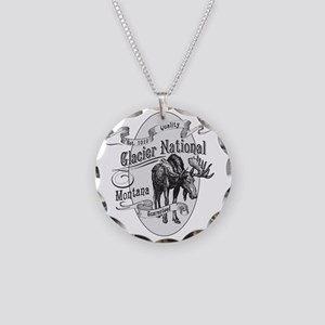 Glacier National Vintage Moo Necklace Circle Charm
