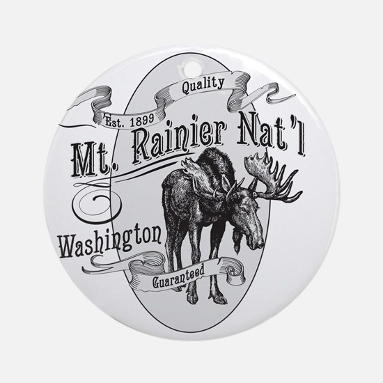 Mt. Rainier Vintage Moose Round Ornament